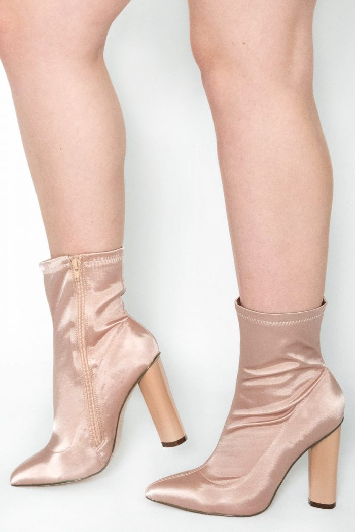 Laure Champayne Satin Lycra Ankle Boots