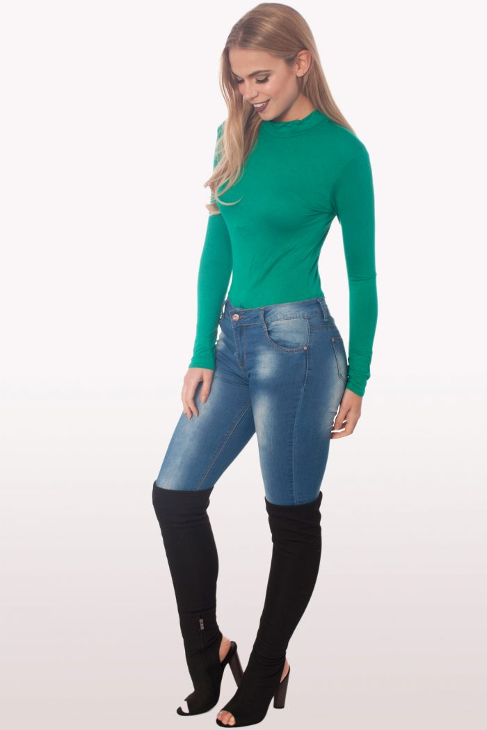 jade green polo neck bodysuit