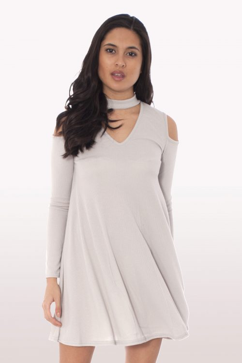 Grey Choker Rib Cold Shoulder Swing Dress