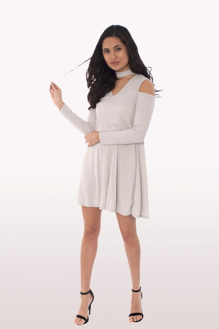 Grey Choker Rib Cold Shoulder Swing Dress