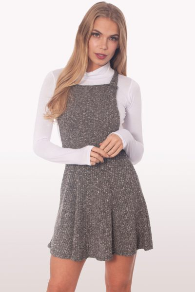 Charcoal Rib Knit Pinafore Playsuit