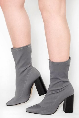 Maaria Grey Lycra Pointed Ankle Boots