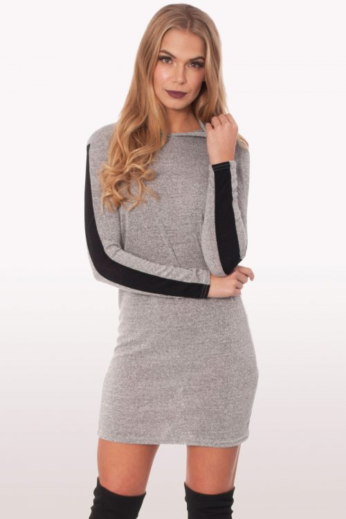 Light Grey Sweatshirt Hoodie Dress