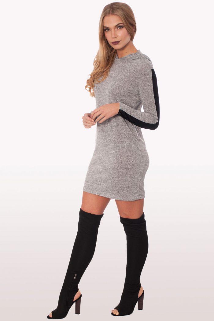 Light Grey Sweatshirt Hoodie Dress