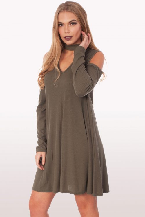 Khaki Choker Rib Cold Shoulder Swing Dress