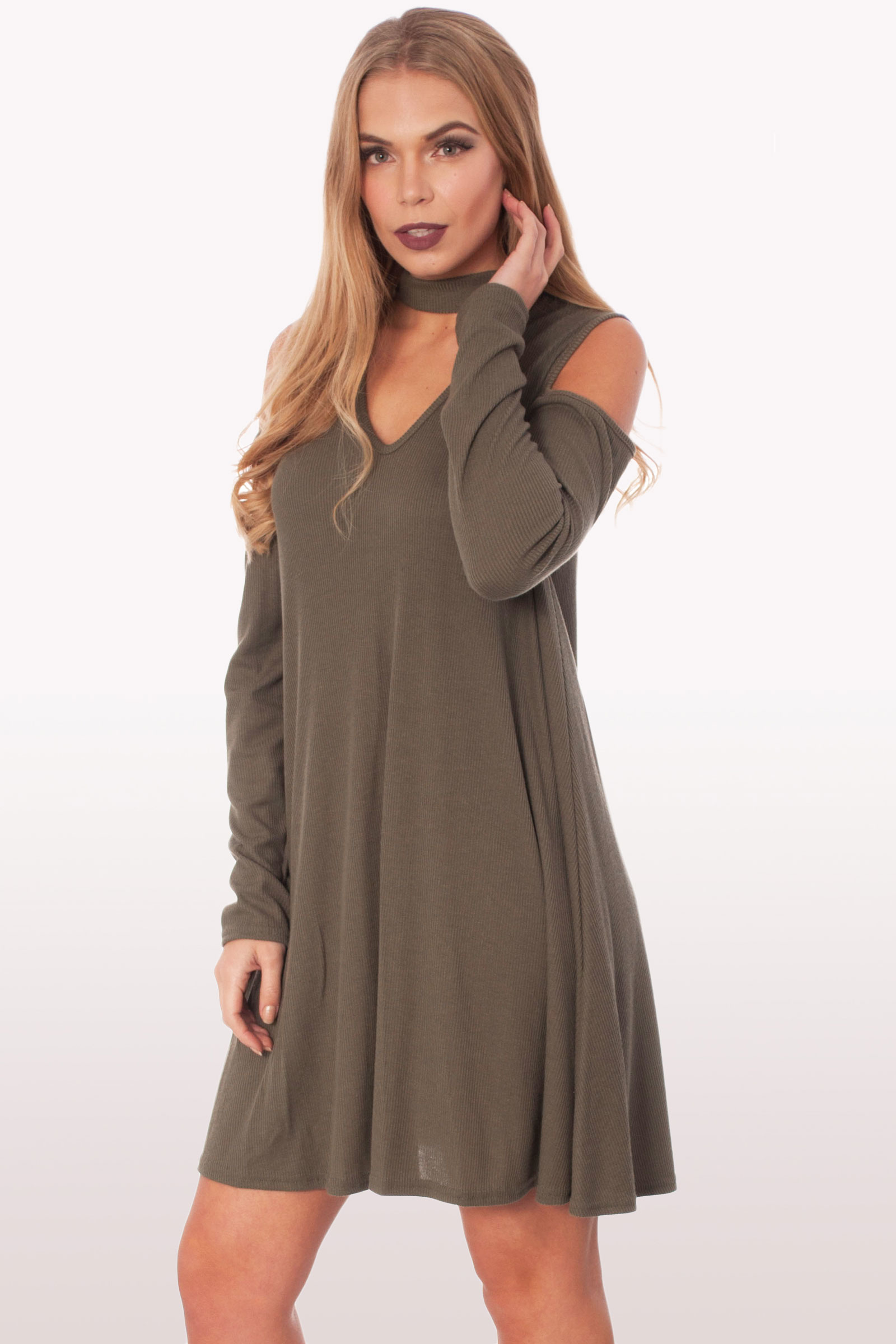 a8a8c5a0e76c Khaki Choker Rib Cold Shoulder Swing Dress