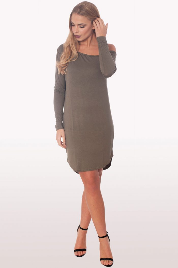 Khaki Dip Curved Hem Off The Shoulder Dress