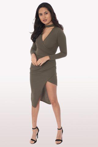 Khaki Wrap Over Choker Midi Dress