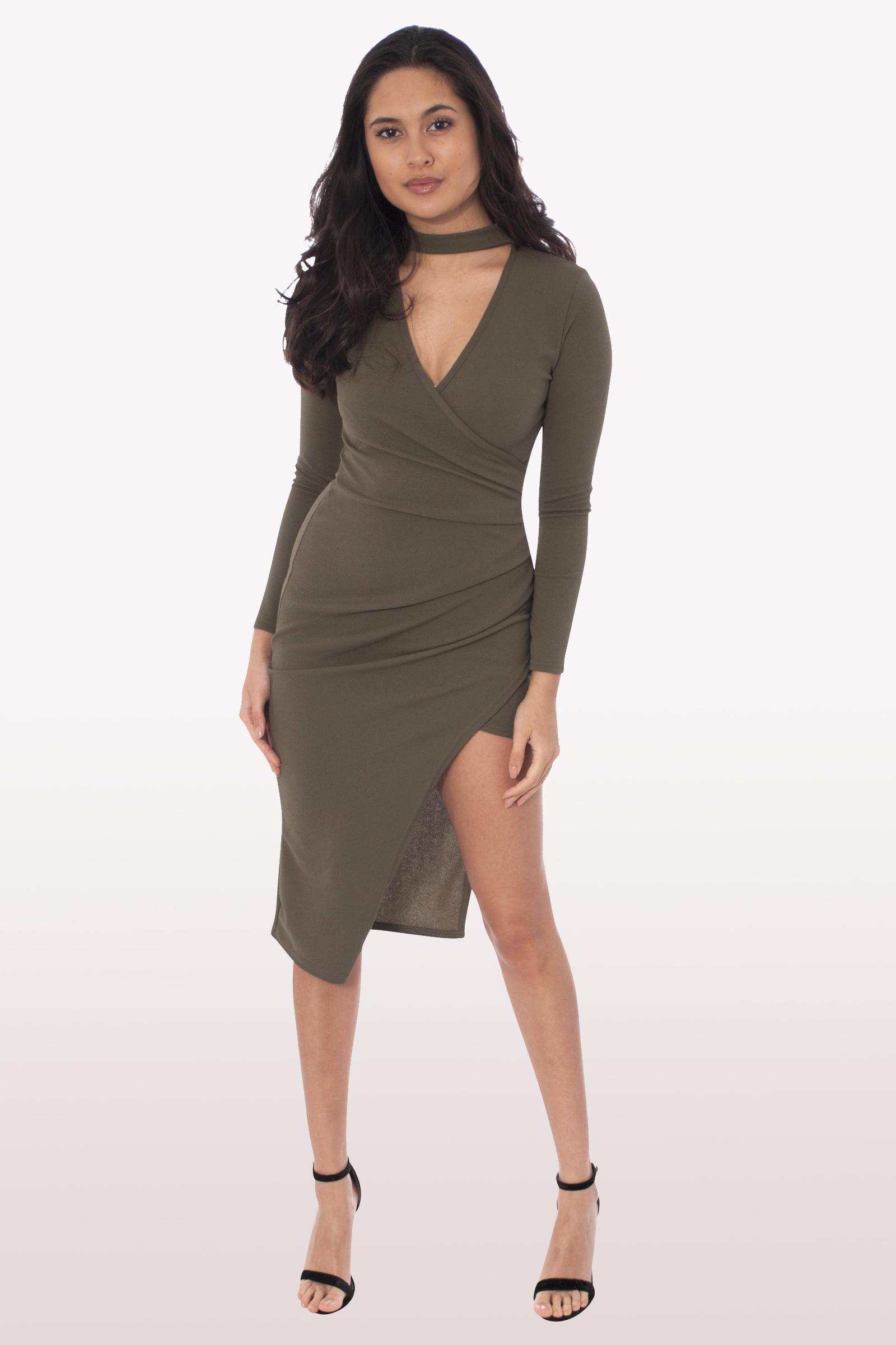 0894523425a6 Khaki Wrap Over Choker Midi Dress