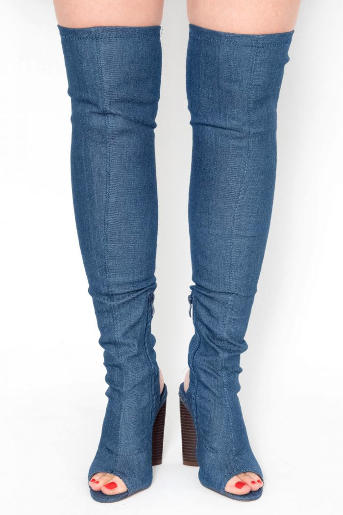 Helene Denim Knitted Cut Out Over The Knee Boots