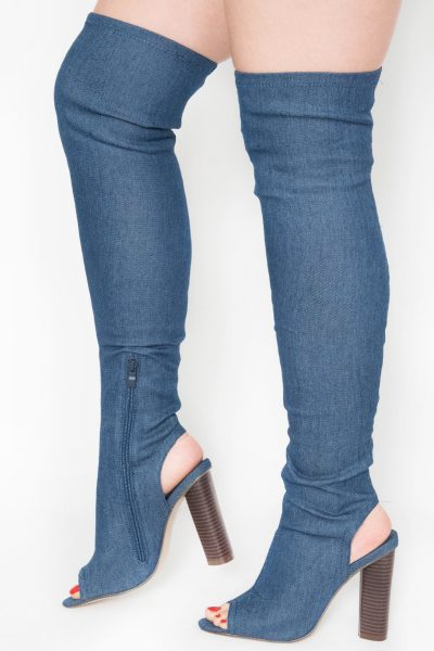 Denim Cut Out Over The Knee Boots