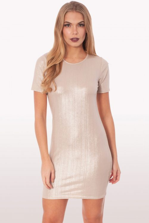 Metallic Mini Shift Dress
