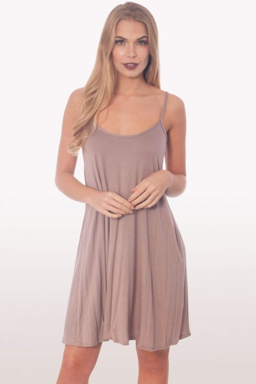 Mocha Strappy Cami Swing Dress