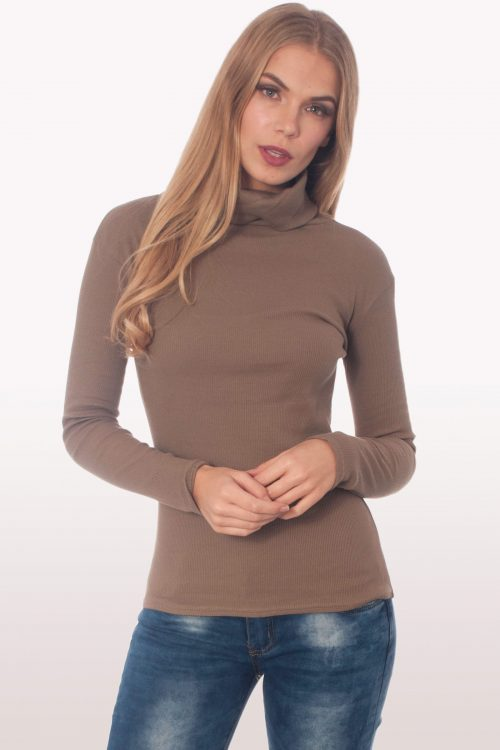 Mocha Ribbed Polo Neck Knit Jumper