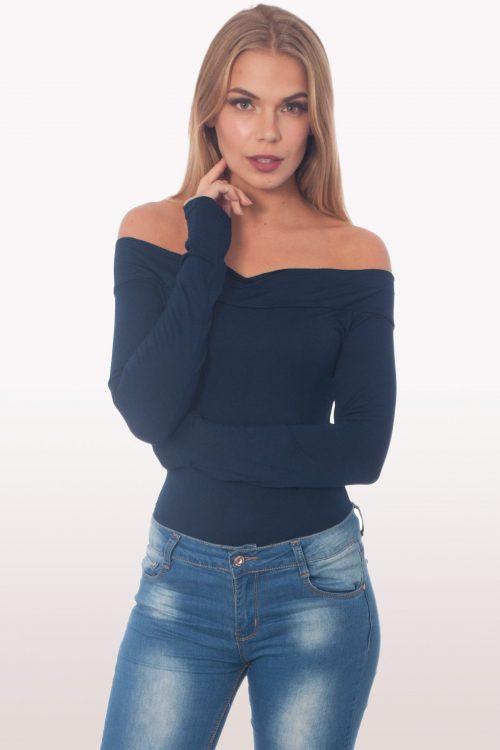 Navy Bardot Long Sleeve Bodysuit