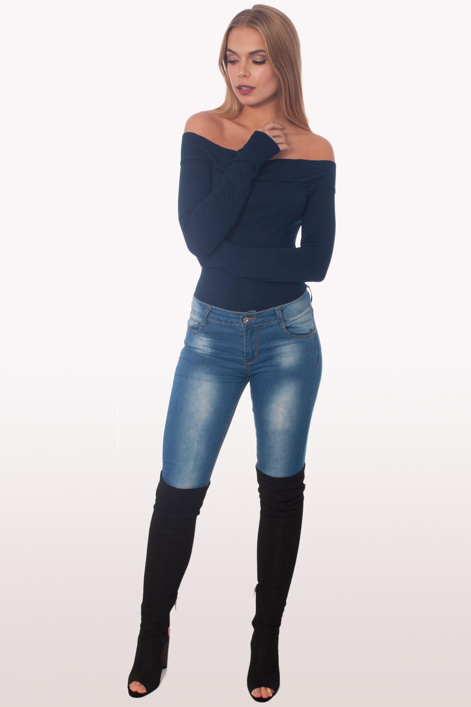 79caac01f5 Navy Bardot Long Sleeve Bodysuit |Bodysuits |Modamore