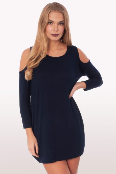 Navy Cold Shoulder Batwing Top