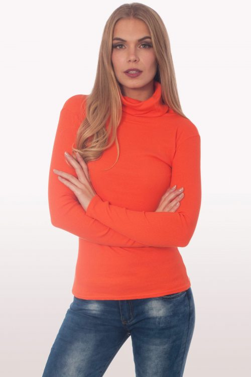 Orange Ribbed Polo Neck Knit Jumper