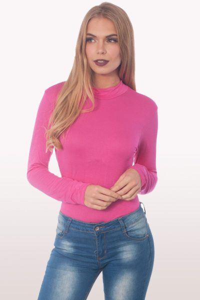 hot pink polo neck bodysuit