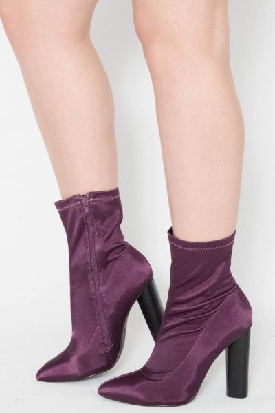 Purple Satin Lycra Ankle Boots