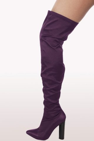 Purple Satin Lycra Over The Knee Boots