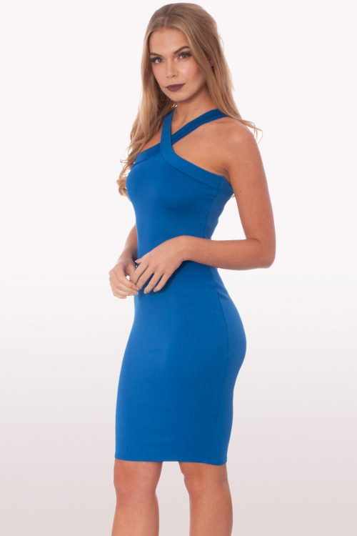 Royal Blue Scuba Bodycon Midi Dress
