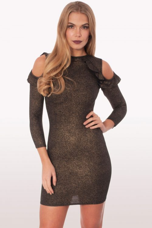 Raquel Metallic Ruffle Bodycon Mini Dress
