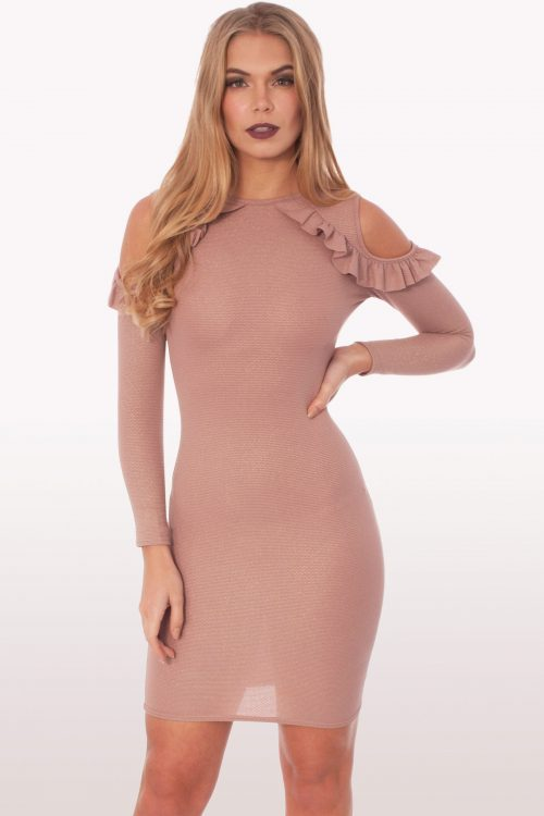 Raquel Blush Ruffle Bodycon Mini Dress