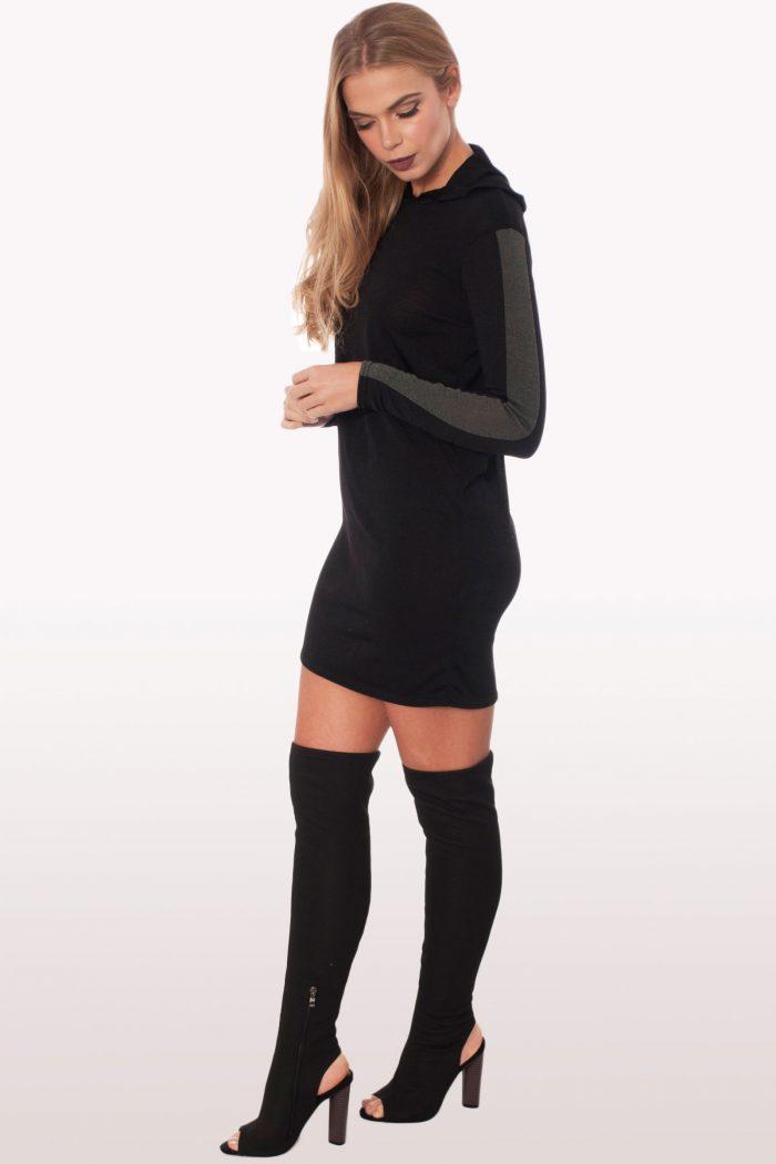Black Sweatshirt Hoodie Dress