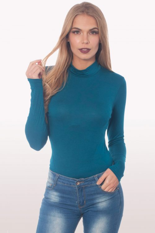 teal polo neck bodysuit
