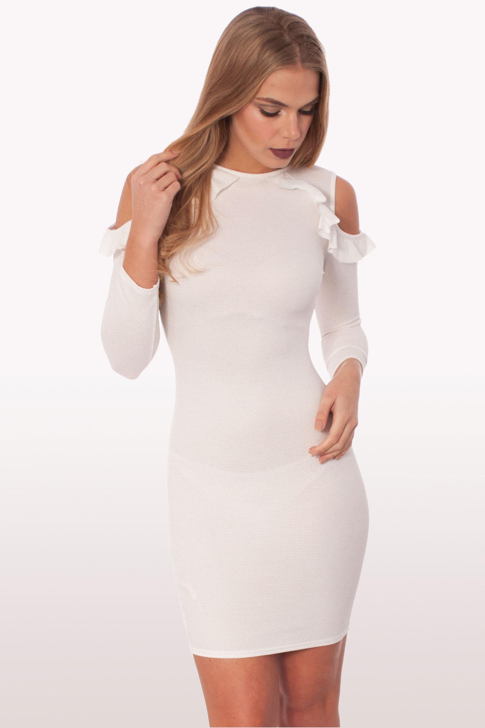 raquel white ruffle bodycon mini dress dresses modamore. Black Bedroom Furniture Sets. Home Design Ideas