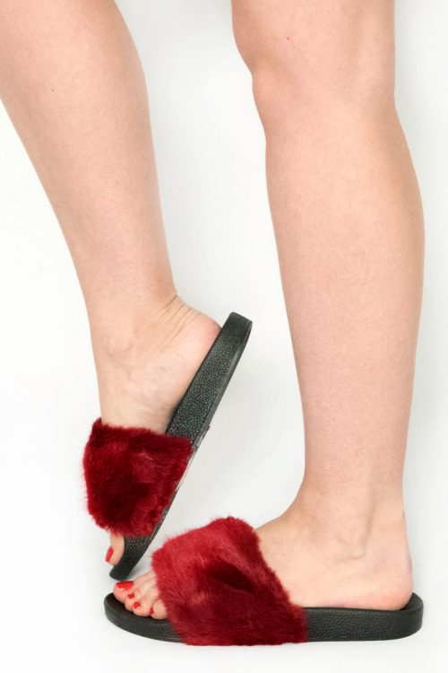 Acacia Wine Faux Fur Sliders
