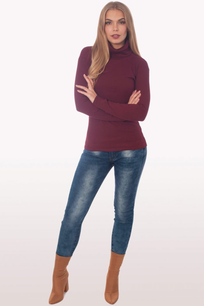 Wine Ribbed Polo Neck Knit Jumper