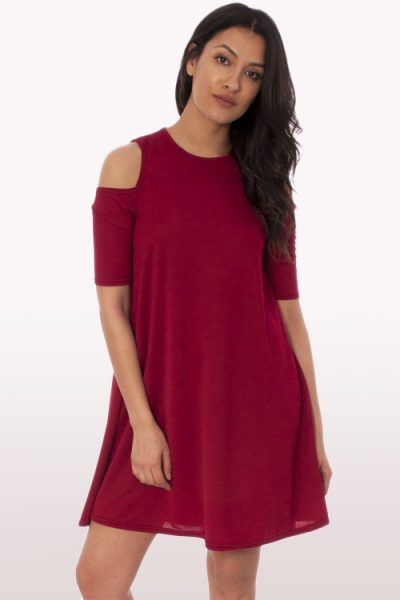 Wine Cold Shoulder Swing Dress