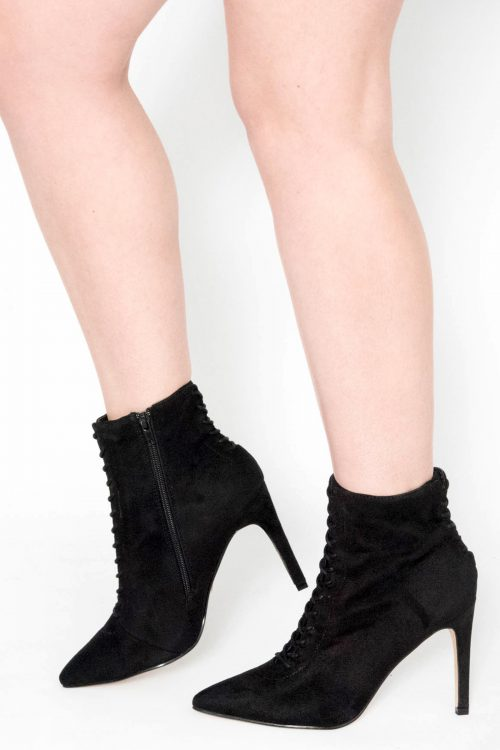 Vara Black Suede Stiletto Ankle Boots