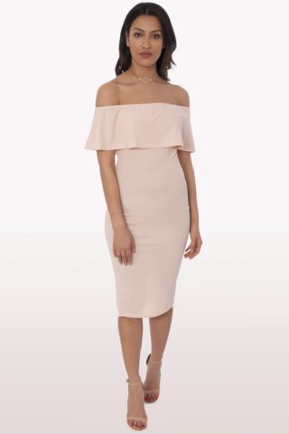 Blush Bardot Frill Bodycon Midi Dress