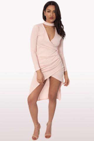 Blush Wrap Over Choker Midi Dress