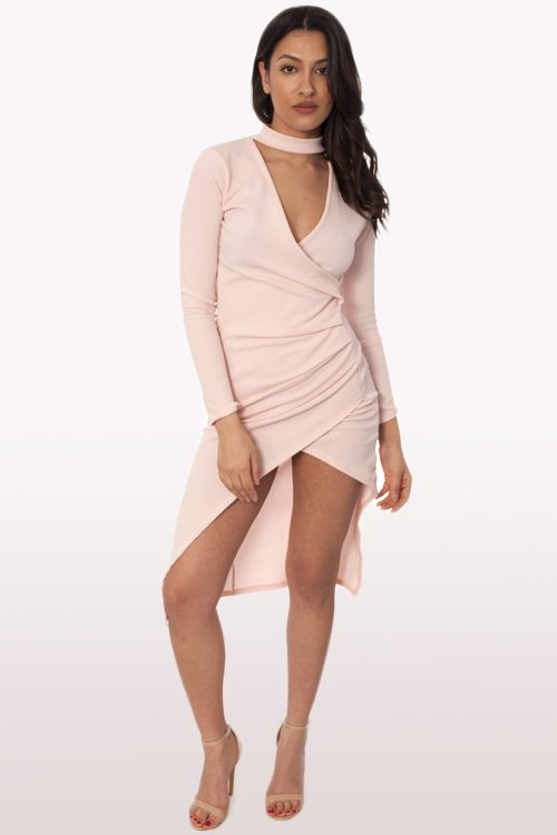 Blush Wrap Over Choker Midi Dress