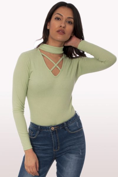 Mint Choker Cross Neck Bodysuit