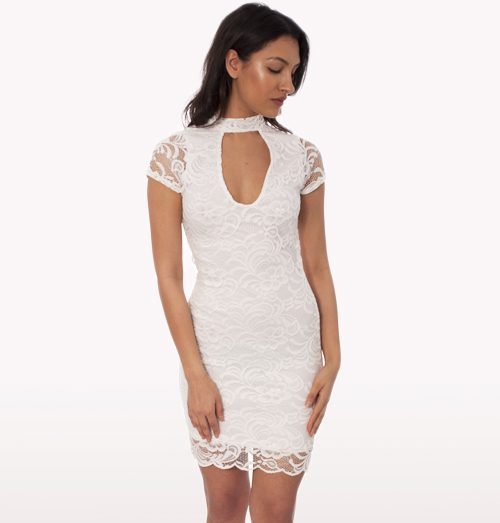 White Lace Choker Mini Bodycon Dress