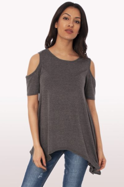 Charcoal Cold Shoulder Hanky Hem Top