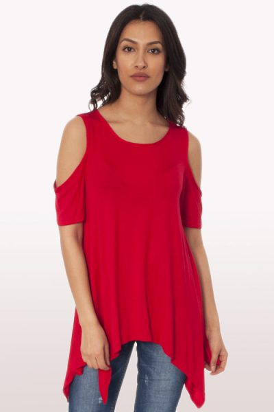 Red Cold Shoulder Hanky Hem Top