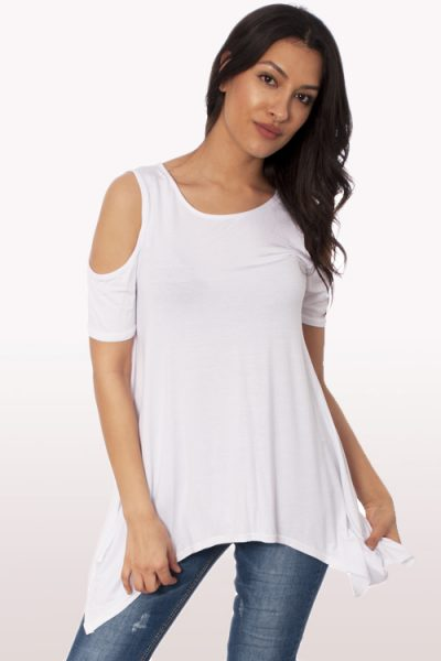 White Cold Shoulder Hanky Hem Top