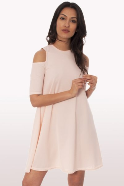 Baby Pink Cold Shoulder Swing Dress