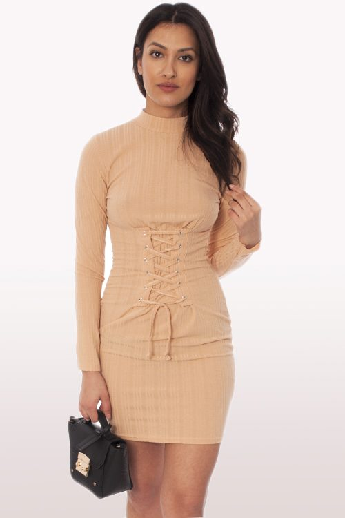 Camel Polo Neck Corset Bodycon Dress
