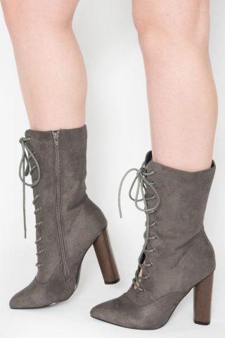 Tamara Grey Suede Wooden Heel Ankle Boots