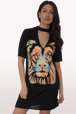 multi lion print choker t-shirt dress