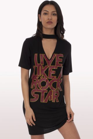 rockstar print choker t-shirt dress
