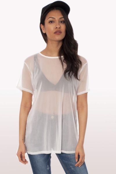 white mesh boyfriend t-shirt