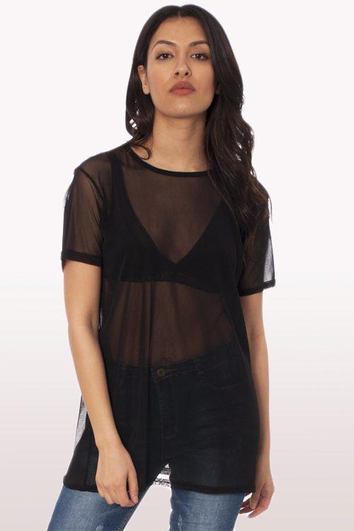 black mesh boyfriend t-shirt